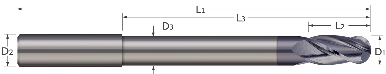 End Mills - Ball - 2, 3, 4 Flute - Reduced Neck