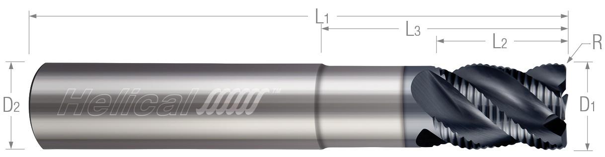Multi-Flute, Corner Radius - Knuckle Rougher, Variable Pitch, Reduced Neck (Aplus)