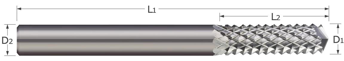 End Mills for Plastics & Composites - Diamond Cut - 135° Drill Point