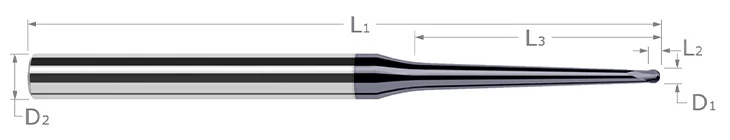 End Mills for Hardened Steels - Finishers - Ball - Taper Reach