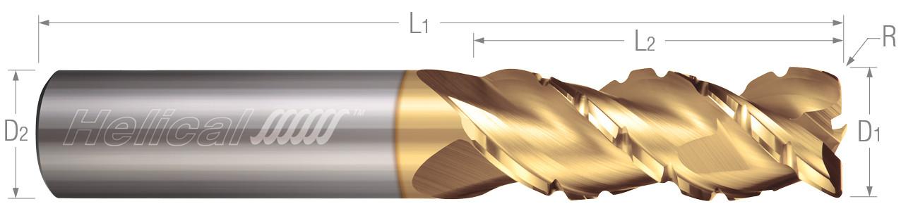 3 Flute, Corner Radius - 45° Helix, Chipbreaker Rougher