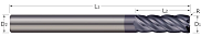 End Mills for Steels & High Temperature Alloys - Corner Radius - 5 Flute - Variable Helix
