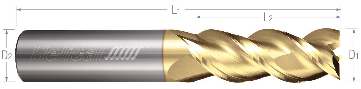 3 Flute, Square - 45° Helix