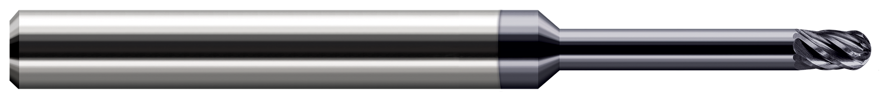 End Mills for Hardened Steels - Ball - For Steels Up to 55 Rc - Long Reach, Stub Flute