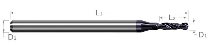Miniature High Performance Drills - Prehardened Steels