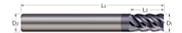 End Mills for Steels & High Temperature Alloys - Square - 5 Flute - Stub Flute