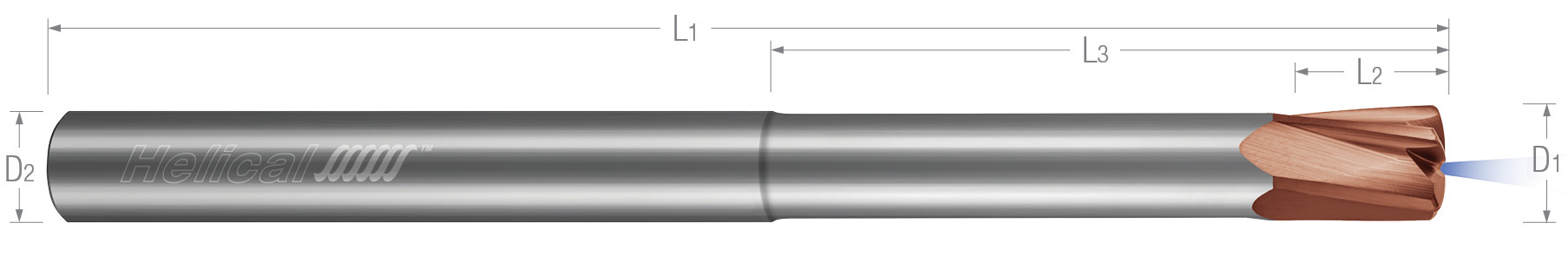 High Feed End Mills - Steels up to 45 Rc - Variable Pitch - Coolant Through - Reduced Neck