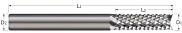 End Mills for Plastics & Composites - Diamond Cut - Fish Tail End Cut