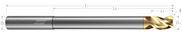 3 Flute, Corner Radius - 40° Helix, Variable Pitch, Reduced Neck