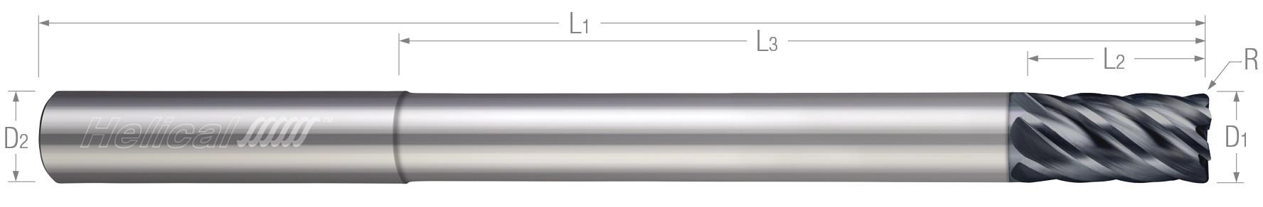 6 Flute - Corner Radius - Variable Pitch - Reduced Neck (Aplus)