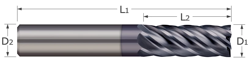 End Mills for Steels & High Temperature Alloys - Square - 4 & 6 Flute