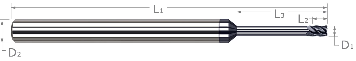 End Mills for Hardened Steels - Square - For Steels Up to 55 Rc - Long Reach, Stub Flute