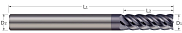 End Mills for Steels & High Temperature Alloys - Square - 5 Flute