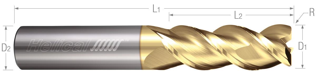 3 Flute, Corner Radius - 45° Helix