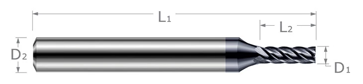 End Mills for Hardened Steels - Square - For Steels Up to 55 Rc