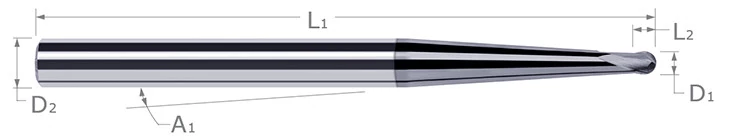 High Helix End Mills for Medium Alloy Steels - Ball - Tapered Reach (Mold Cutters)