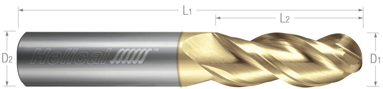 3 Flute, Ball - 40° Helix, Variable Pitch