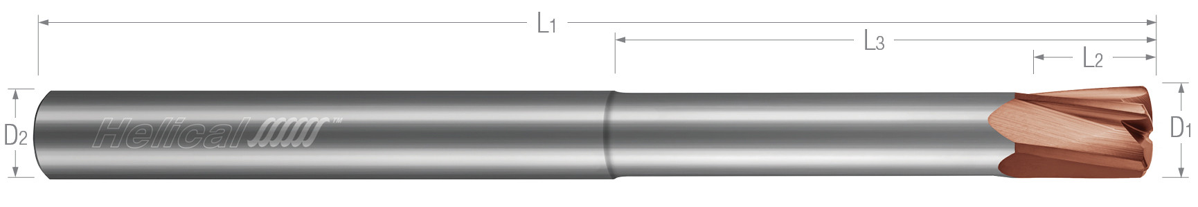 High Feed End Mills - Steels up to 45 Rc - Metric - Variable Pitch - Reduced Neck