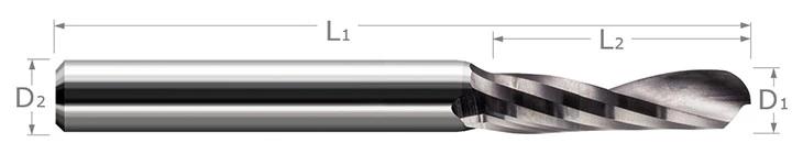 End Mills for Plastics - Ball Upcut - Single Flute